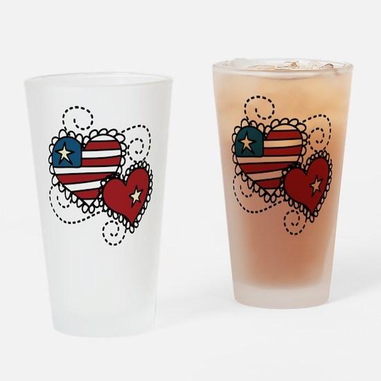 America Hearts Drinking Glass