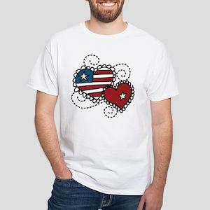 America Hearts White T-Shirt