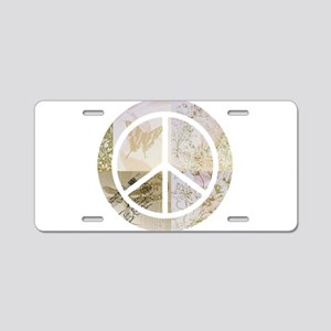 Pretty Gold Pink Peace Sign Aluminum License Plate