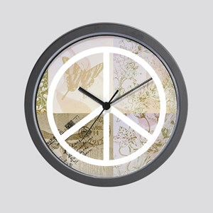 Pretty Gold Pink Peace Sign Wall Clock