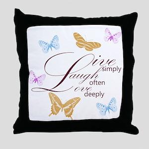 Live, Laugh, Love Simply Butterflies Throw Pillow