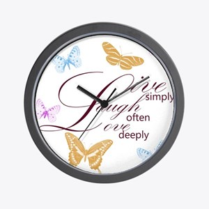 Live, Laugh, Love Simply Butterflies Wall Clock