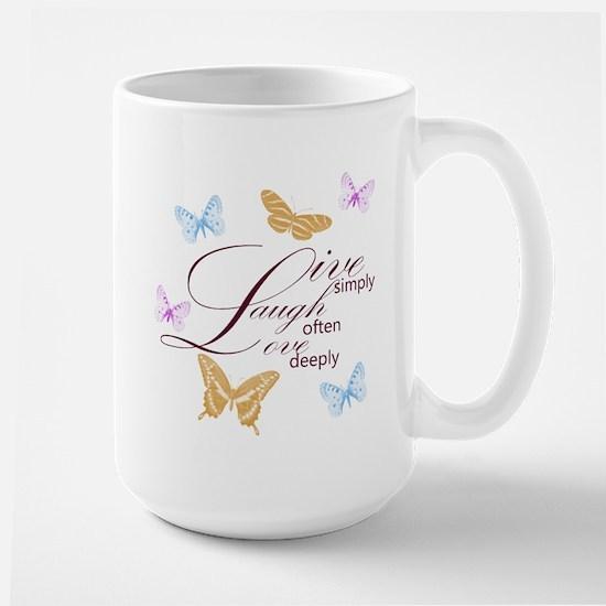 Live, Laugh, Love Simply Butterflies Large Mug