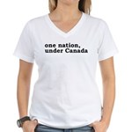 One Nation Under Canada Women's V-Neck T-Shirt