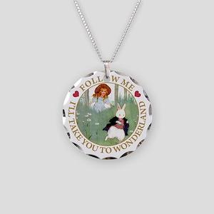 Follow Me To Wonderland Necklace Circle Charm