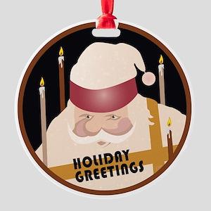 Holiday Santa Round Ornament