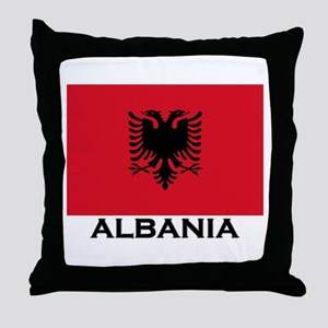 Albania Flag Gear Throw Pillow