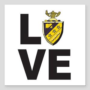 "Phi Sigma Pi Love Square Car Magnet 3"" x 3&qu"