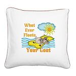 Float Your Goat Square Canvas Pillow