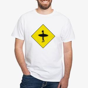 Surfer Crossing White T-Shirt