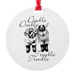 Baby Pygmy Goats Double Trouble Round Ornament