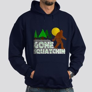 Gone Squatchin Vintage Retro Distressed Hoodie (da