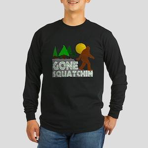 Gone Squatchin Vintage Retro Distressed Long Sleev
