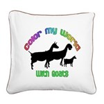 Color my World with Goats Square Canvas Pillow
