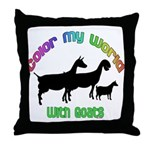 Color my World with Goats Throw Pillow