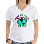 Color my World with Goats 2 Women's V-Neck T-Shirt