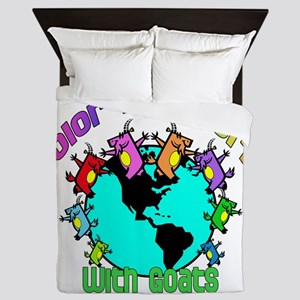 Color my World with Goats 2 Queen Duvet