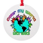 Color my World with Goats 2 Round Ornament