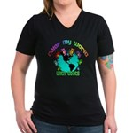 Color my World with Goats 2 Women's V-Neck Dark T-