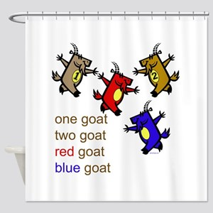 One Goat, Two Red Blue Goat Cur Shower Curtain