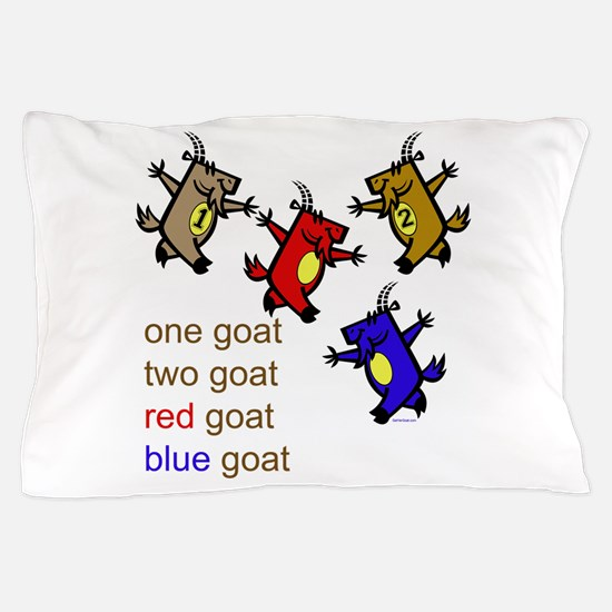 One Goat, Two Goat, Red Goat, Blue Goat Pillow Cas