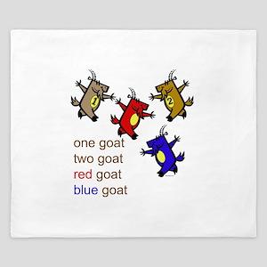 One Goat, Two Goat, Red Goat, Blue Goat King Duvet