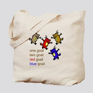 One Goat, Two Goat, Red Goat, Blue Goat Tote Bag