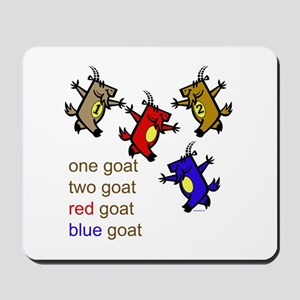 One Goat, Two Goat, Red Goat, Blue Goat Mousepad