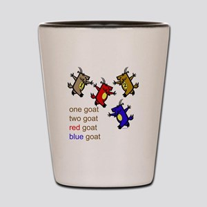 One Goat, Two Goat, Red Goat, Blue Goat Shot Glass