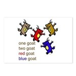One Goat, Two Goat, Red Goat, Blue Goat Postcards