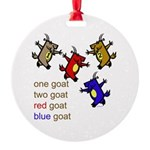 One Goat, Two Goat, Red Goat, Blue Goat Round Orna