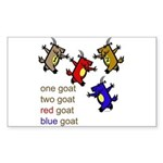 One Goat, Two Goat, Red Goat, Blue Goat Sticker (R