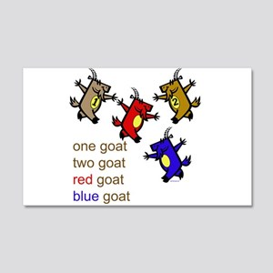 One Goat, Two Goat, Red Goat, Blue Goat 20x12 Wall