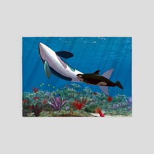 Orca Family 5'x7'Area Rug