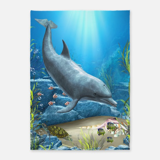 The World Of The Dolphin 5'x7'Area Rug
