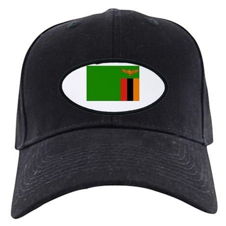 Zambia Flag Picture Black Cap