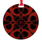 Red Black Goth Fractal Heart Pattern Round Ornamen