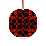 Red Black Goth Fractal Heart Pattern Ornament (Rou