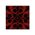 Red Black Goth Fractal Heart Pattern Square Sticke