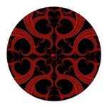 Red Black Goth Fractal Heart Pattern Round Car Mag
