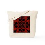 Red Black Goth Fractal Heart Pattern Tote Bag