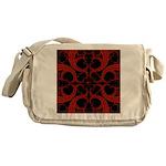 Red Black Goth Fractal Heart Pattern Messenger Bag
