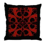 Red Black Goth Fractal Heart Pattern Throw Pillow