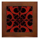 Red Black Goth Fractal Heart Pattern Framed Tile
