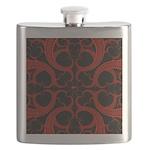 Red Black Goth Fractal Heart Pattern Flask