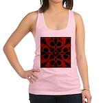 Red Black Goth Fractal Heart Pattern Racerback Tan