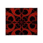 Red Black Goth Fractal Heart Pattern Stadium Blan