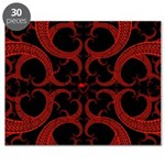 Red Black Goth Fractal Heart Pattern Puzzle