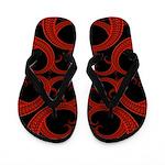 Red Black Goth Fractal Heart Pattern Flip Flops