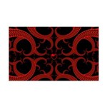 Red and Black Goth Fractal Art Heart Pattern 35x21
